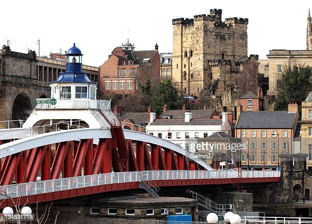 castle keep and swing bridge, newcastle upon tyne - castle stock pictures, royalty-free photos & images