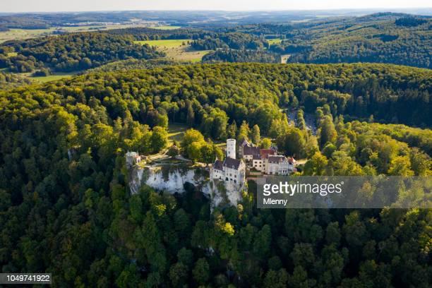 Castle Lichtenstein Aerial View Schwäbische Alb Swabian Jura Swabian Alb Germany