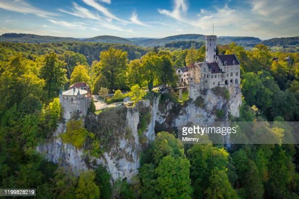 castle lichtenstein schloss lichtenstein swabian alb germany aerial view - mlenny stock pictures, royalty-free photos & images