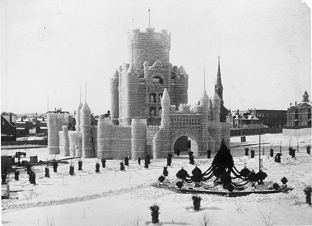 A castle made from ice blocks stands in Central Park for the Twin Cities' Winter Carnival