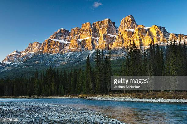 castle mountain and bow river, banff national park - castle mountain stock photos and pictures