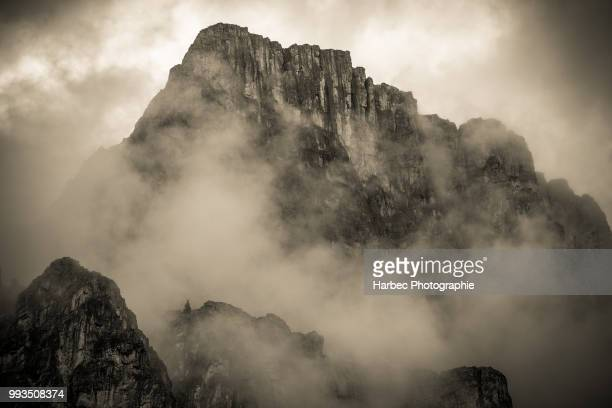 castle mountain in the canadian rockies - castle mountain stock photos and pictures