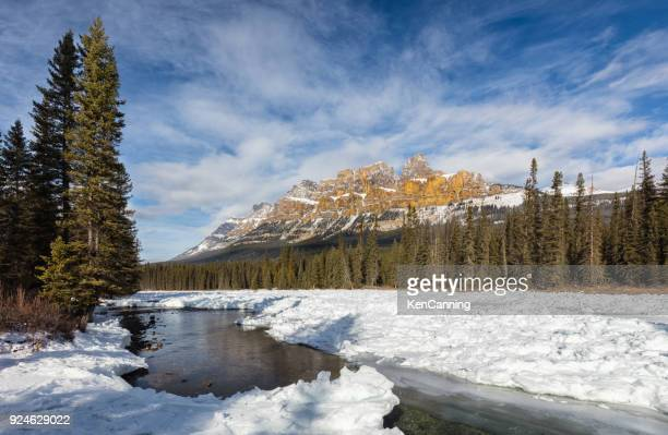 castle mountain in winter, banff national park, alberta canada - castle mountain stock photos and pictures