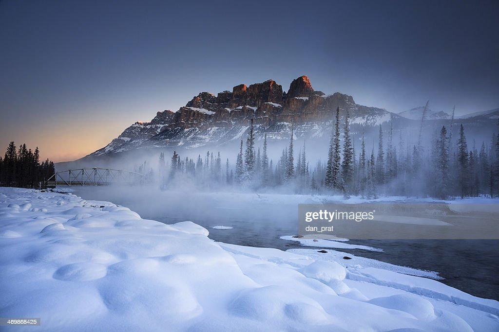 Castle Mountain Winter : Stock Photo