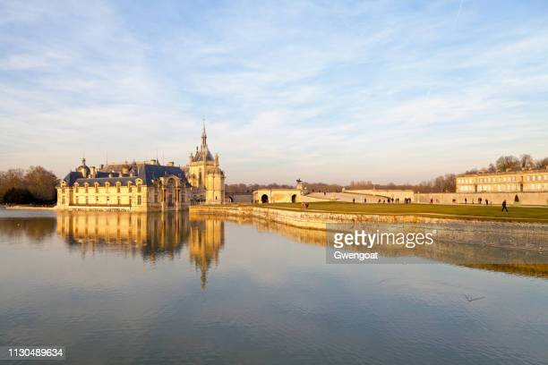 castle of chantilly and enghien - hauts de france stock photos and pictures