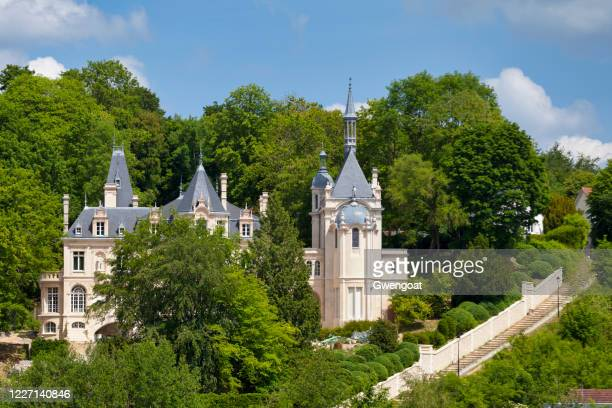 castle of jonval in pierrefonds - oise stock pictures, royalty-free photos & images