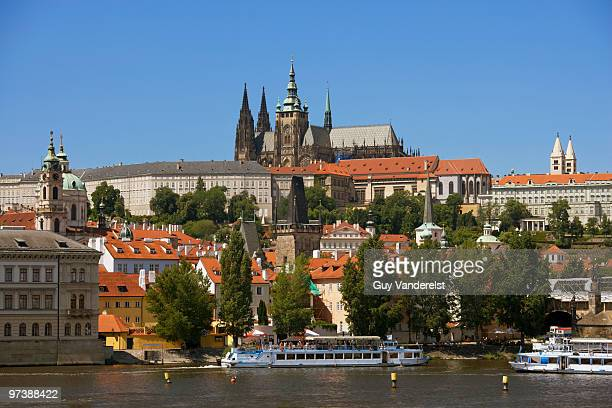 Castle of Prague with riverbank of Vltava river