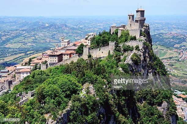 castle of san marino - emilia romagna stock photos and pictures