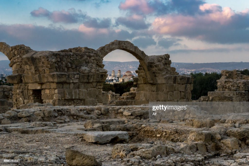 Castle of Saranta kolones inKato Paphos, Paphos, Cyprus : Stock Photo