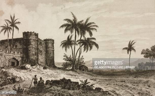 Castle of Sultan of Aden in Lahej Arabia engraving by Lemaitre from Arabie by Noel Desvergers avec une carte de l'Arabie et note by Jomard L'Univers...
