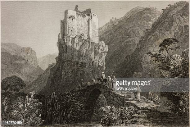 Castle of the Crusaders in a valley near Batroun or AlBatrun Lebanon engraving by W J Cook after a drawing by W H Bartlett from La Siria e l'Asia...