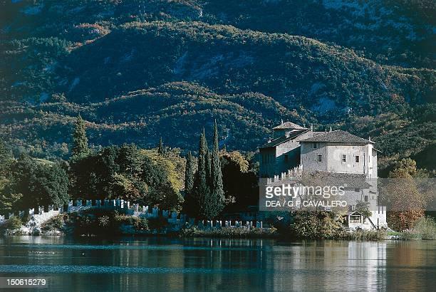 Castle of Toblino and the homonymous lake TrentinoAlto Adige Italy 12th century