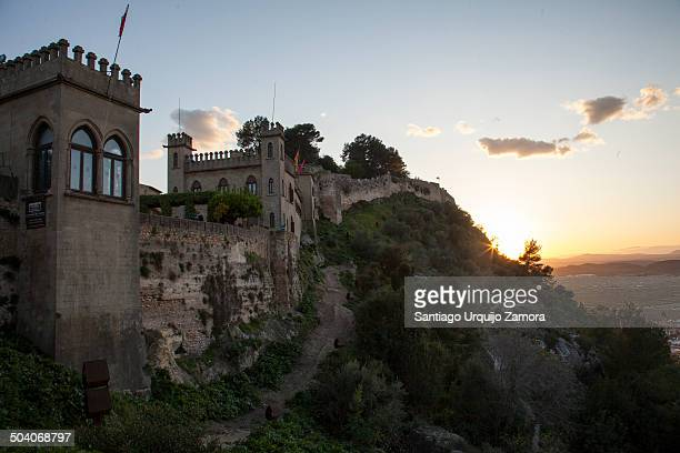Castle of Xativa on a ridge at sunset, Xativa, Valencia, Valencian Community, Spain. It is a national monument.