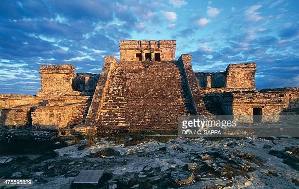 Castle or El Castillo Tulum Quintana Roo Mexico Maya Civilisation