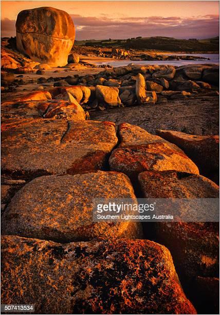 Castle rock and Marshall bay, Flinders Island, Bass Strait, Tasmania, Australia.