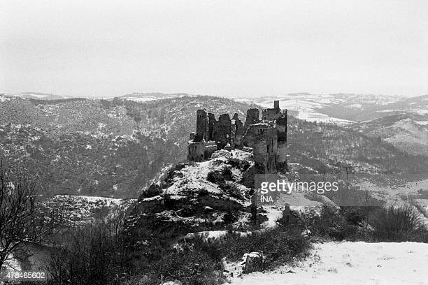 Castle rock or fortified castle of Blot-le-Rocher in Le Puy of Dome