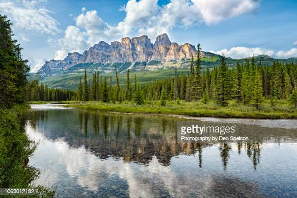 castle rock reflected in bow river, banff national park, canada - castle mountain stock photos and pictures