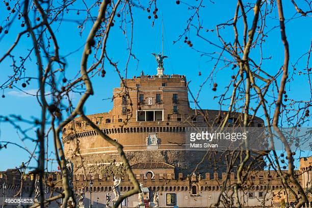 Castle Sant'Angelo with tree branches and blue sky in Rome Italy