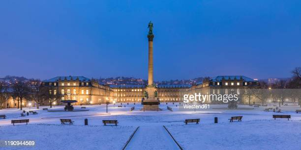 castle square and anniversary column during winter at night in stuttgart, germany - castle square stock pictures, royalty-free photos & images