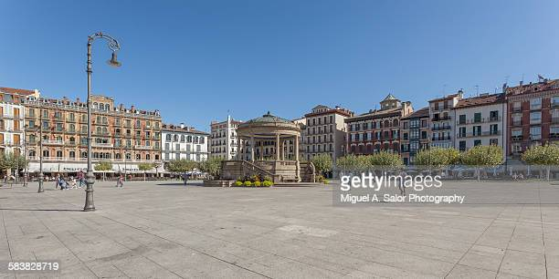 castle square - pamplona stock photos and pictures