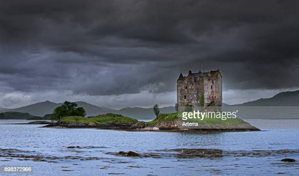 Castle Stalker medieval fourstory tower house / keep in Loch Laich inlet off Loch Linnhe near Port Appin Argyll Scotland UK