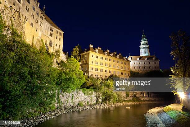 castle tower cesky krumlov - cesky krumlov castle stock photos and pictures