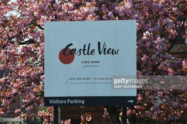Castle View Care Home, operated by the HC-One group, is pictured in Dumbarton, west of Glasgow on April 21 after the news that 8 elderly residents...
