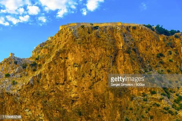 Castle Wall On Mountainl In Alanya