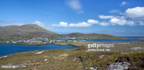 castlebay panorama, isle of barra, outer hebrides, scotland - barra scotland stock pictures, royalty-free photos & images