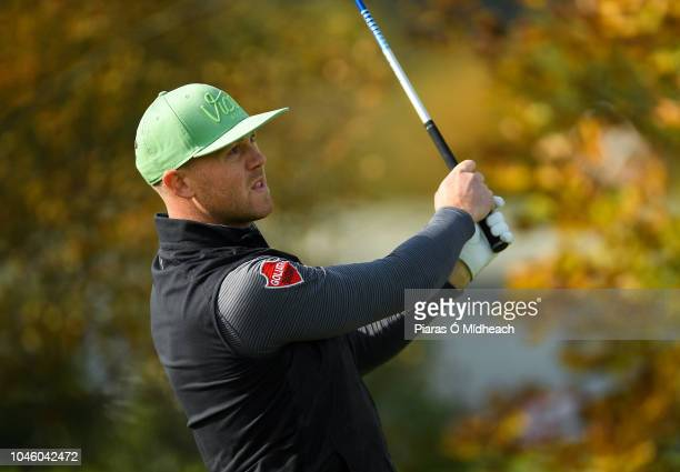 Castleblaney Ireland 5 October 2018 Brendan McCarroll of Ireland watches his shot during The Monaghan Irish Challenge at Concra Wood Golf Club in...