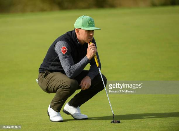 Castleblaney Ireland 5 October 2018 Brendan McCarroll of Ireland lines up a putt on the green during The Monaghan Irish Challenge at Concra Wood Golf...