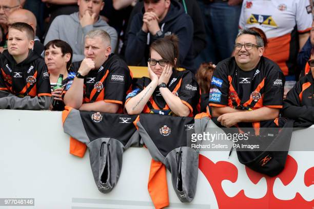 Castleford fans look on in disbelief during the Betfred Super League match at the MendAHose Jungle Casteford