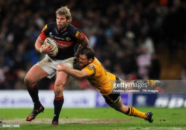 Castleford Tigers Danny Orr tackles Wakefield Trinity Wildcats' Glenn Morrison during the Engage Super League match at the Millennium Stadium Cardiff