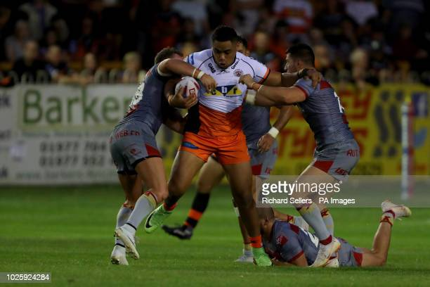 Castleford Tigers' Junior Moors powers forward during the Betfred Super League match at the MendAHose Jungle Castleford