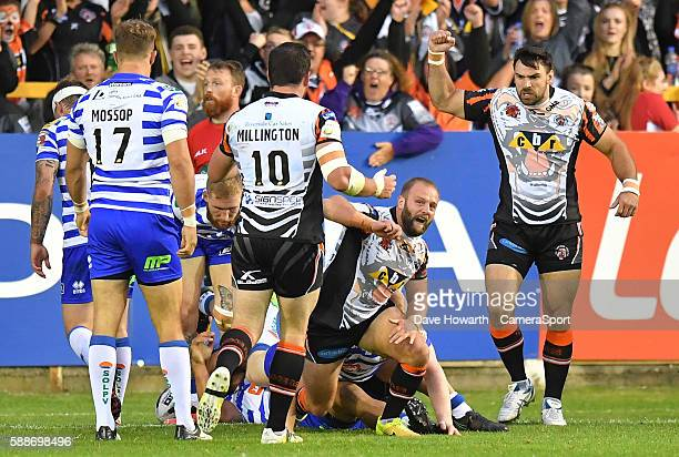 Castleford Tigers' Paul McShane celebrates scoring his sides 2nd try during the First Utility Super League Super 8s Round 2 between Castleford Tigers...