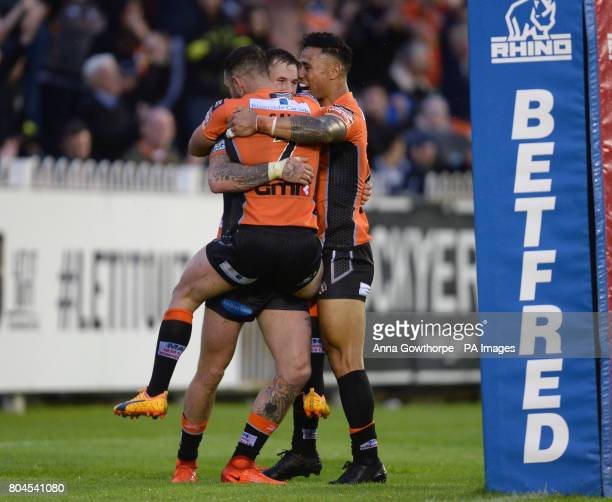 Castleford Tigers' Zak Hardaker celebrates with team mates after scoring a try during the Betfred Super League match at the MendAHose Jungle...