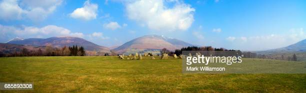 castlerigg panorama. - blencathra stock photos and pictures
