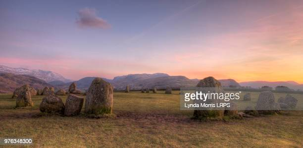 castlerigg stone circle at sunset, lake district, keswick, cumbria, england, uk - ケズイック ストックフォトと画像