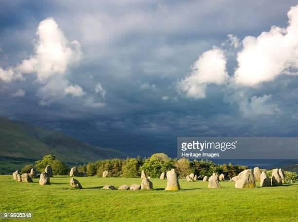 Castlerigg Stone Circle Cumbria circa 2007 Dark storm clouds loom over the stones