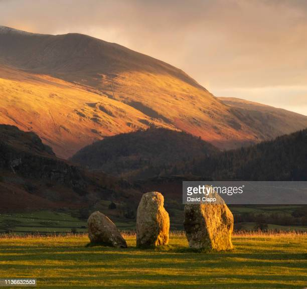 castlerigg stone circle in the lake district, cumbria, united kingdom - lake district autumn stock pictures, royalty-free photos & images