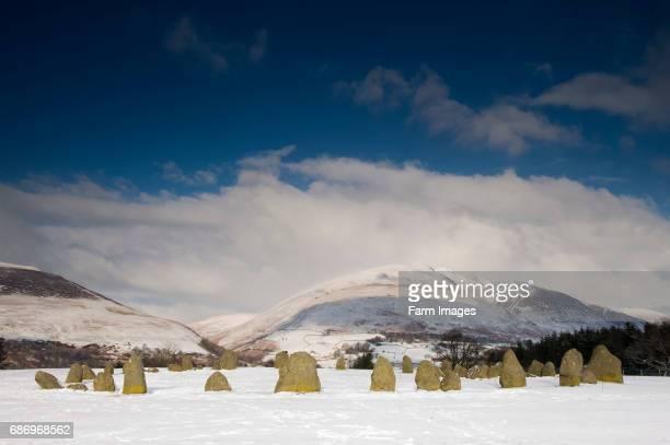 Castlerigg Stone Circle near Keswick Looking towards Saddleback in the snow English Lake District