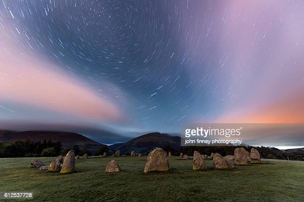 Castlerigg stone circle Star trails. Lake District National park. UK. Europe.