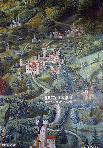 Castles landscape detail from the Procession of the Magi fresco by Benozzo Gozzoli Magi Chapel of Palazzo Medici Riccardi Florence Italy 15th century...