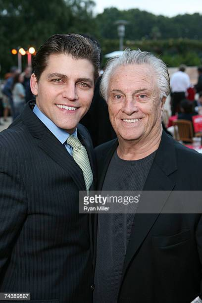 Castmember Actor Deven May with Four Season Musician Tommy DeVito pose during the opening night party for 'Jersey Boys' the 2006 Tony Award winner...