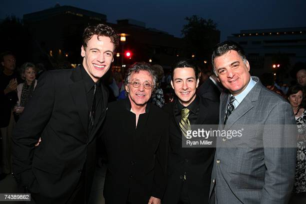 Castmember Actor Erich Bergen Singer Frankie Valli and Castmembers Actor Christopher Kale Jones and Actor Joseph Siravo pose during the opening night...