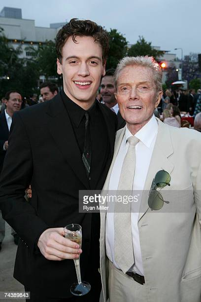 Castmember Actor Erich Bergen with Four Season Music Producer Bob Crewe pose during the opening night party for 'Jersey Boys' the 2006 Tony Award...