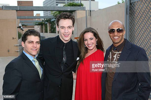 """Castmembers Actor Deven May, Actor Erich Bergen, Actress Jackie Seiden and Actor Brandon Matthieus Pose during the opening night party for """"Jersey..."""