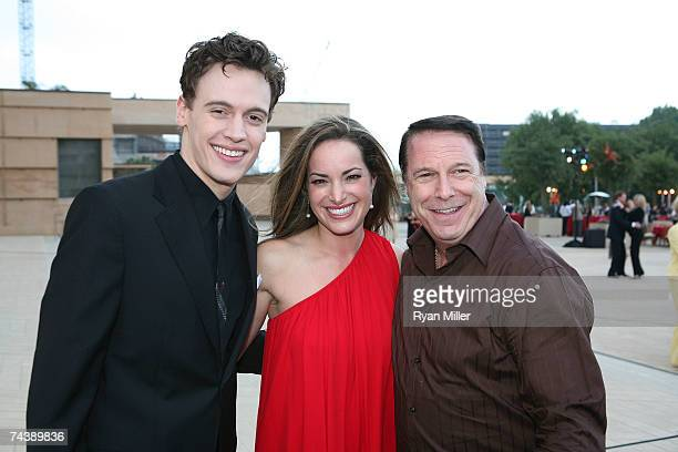 Castmembers Actor Erich Bergen Actress Jackie Seiden and Incoming CTG Board President Martin Massman pose during the opening night party for 'Jersey...