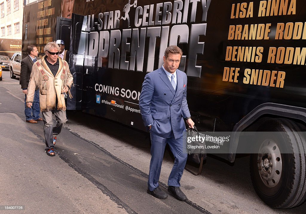 Castmembers actors Gary Busey and Stephen Baldwin attend the 'Celebrity Apprentice All Stars' Season 13 Bus Tour at on October 12, 2012 in New York City.