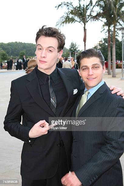 Castmembers Actors playing the Four Seasons Erich Bergen and Deven May pose during the opening night party for 'Jersey Boys' the 2006 Tony Award...